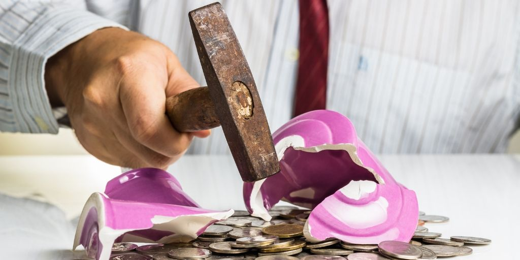 Retiree Breaking Piggy Bank to get to make budget.